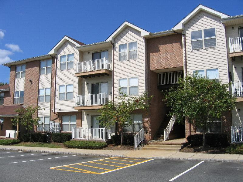 Forest View apartments photo shows a three story apartment building with an exterior showing both brick and vinyl siding and balconies on all three floors. Green grass, bushes and trees landscape the area.